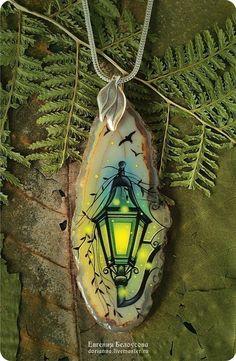 "Кулон с росписью ""Старый фонарь"" (осень, лаковая миниатюра) - роспись, ручная роспись"
