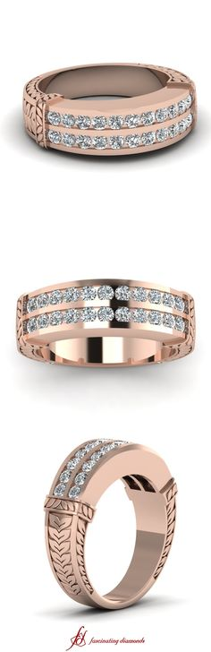 Leaf Contour Band || White Diamond Wedding Band In 14K Rose Gold