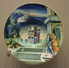 Maiolica plate by Nicola da Urbino, ca.1524, with the arms of Isabella d'Este and her late husband (Victoria and Albert Museum). https://upload.wikimedia.org/wikipedia/commons/f/f3/BLW_Plate_with_Hippolytus_and_Phaedra.jpg