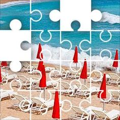 Beach Umbrella Red Jigsaw Puzzle, 67 Piece Classic. Rows of empty seats and closed red umbrellas. This is the type of puzzle I like. Not to hard but enough to make it worth doing.