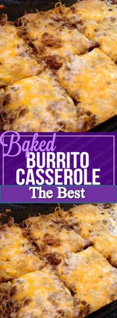 Baked Burrito Casserole INGREDIENTS: 1 can refried beans 1 pack large flour tortillas 2 cups of shredded Mexican blend cheese . Mexican Dishes, Mexican Food Recipes, New Recipes, Cooking Recipes, Favorite Recipes, Mexican Meals, Mexican Chicken, Vegetarian Recipes, Mexican Shrimp