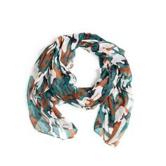 Toughen up your look with the Jane Scarf's jade green and grey camo print. Pair it with a leather moto jacket and jeans for casual cool or an all black outfit for a chic touch. Find it on Splendor Designs
