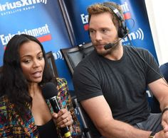 Zoe Saldana and Chris Pratt attend SiriusXM's Entertainment Weekly Radio Channel Broadcasts From Comic-Con 2016 at Hard Rock Hotel San Diego on July 22, 2016 in San Diego, California.