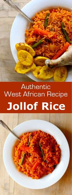 Jollof rice is a delicious West African dish composed of fluffy red orange rice that is often cooked with vegetables and meat. #West Africa #196flavors