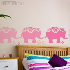 Elephant stencil with little flowers. Make an impact and fire their imagination with this lovely large and lace embellished stencil. Our stencils are available in a wide range of sizes to suit your stencilling project. Perfect for stencilling walls, cushions, floors, fabric,