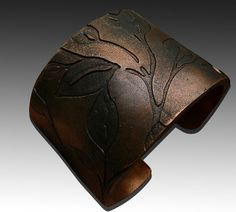 Leaves bronze and copper polymer cuff on Etsy, $16.00