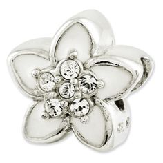 Reflection Beads Sterling Silver Enameled and CZ Flower Bead
