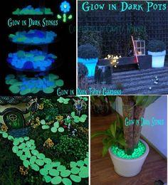 Glow in the dark gardening! Use glow in the dark paint. Search under GLOW IN THE DARK PAINT to find how to make the paint. Glow In Dark Paint, Glow Paint, Garden Crafts, Garden Projects, Projects To Try, Garden Ideas, Garden Tips, Deco Originale, Moon Garden