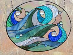 Ocean Wave Stained Glass Panel. $265.00, via Etsy.