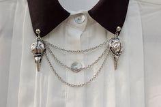 Silver Bird Skull Collar Clip Kragen Kette