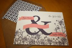 Vintage Ampersand and Hydrangea Wedding Invitation- Tri-fold. $3.50, via Etsy. -- i really like the envelope w/ the paper bag look & then the fancy inside AND the big ampersand.