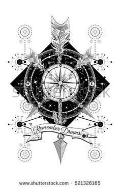 Rose compass tattoo.Template in boho style, symbol adventure, travel.  Hand drawn art.