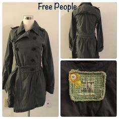 Free People trench Charcoal double breasted trench coat. Belted waist, pleated. Cuffed sleeves. Clean flattering silhouette  Free People Jackets & Coats Pea Coats