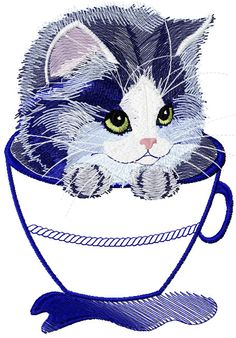 Kitten in a mug applique free embroidery - Cartoon free embroidery collection - Machine embroidery community