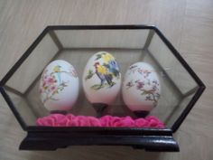 measures 19cms x 12cms depth 5cms label on base says made China #glass #case #eggs #painted #chinese #hand #vintage