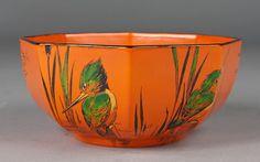927: Shelley Kingfisher Octagon Orange Bowl : Lot 927