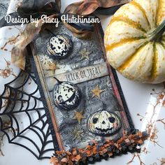 I am in love with look of vintage white and orange pumpkins and gourds and the Pumpkinheads stamp set worked perfectly with that… Halloween Shadow Box, Halloween Tags, Vintage Halloween, Fall Halloween, Happy Halloween, Halloween Stuff, Tim Holtz, Encre Distress Ink, Halloween Paper Crafts