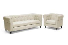Baxton Studio Cortland Beige Linen Modern Chesterfield Sofa Set   Wholesale Interiors