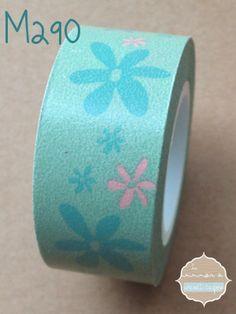 Washi Tape Turquesa flores
