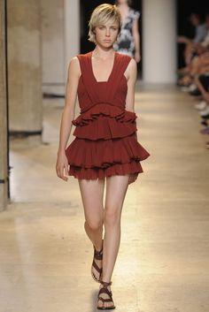 Isabel Marant RTW Spring 2015 Rust Tiered Frills mini dress