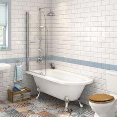 Traditional Roll Top Shower Bath with Shower Screen & Chrome Dragon Feet Bathroom Renos, Bathroom Fixtures, Small Bathroom, Master Bathroom, Bathroom Ideas, Bathroom Designs, Lowes Bathroom, Bathroom Basin, Bathroom Remodeling