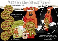 3D On The Shelf Card Kit - Christmas Rusty Dog With Seasonal Greetings Rosettes