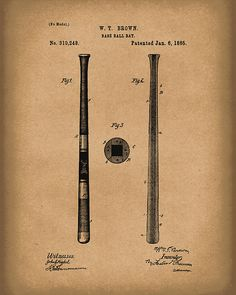 This patent art print is based on a Baseball Bat patent from 1885.