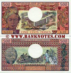 Cameroon 500 Francs 1974-1983 - Front: Face of a Cameroonian Fulani woman. University of Yaoundé campus. Stylised reptiles. Back: Carved mask. Students in chemical lab. Carved statuette. Watermark: Antelope's head. Main colour: Reddish-brown and multicolour. Work by: Raymond Vaudiau. Engraved by: Jacques Jubert. Signatures: Casimir Oyé-Mba (Le Gouverneur, 1978-91); Claude Tchepannou (Un Censeur, 1981-90). Issuer: Bank of the Central African States (BEAC). Date of issue: 1 January 1983 (as…