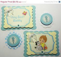 Bespoke die cut baby set card toppers embellishments blue 8pack