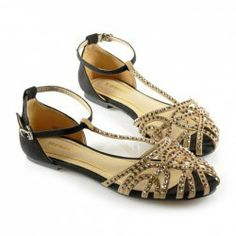 Casual Women's Sandals With Rhinestone Openwork and T-Strap Design
