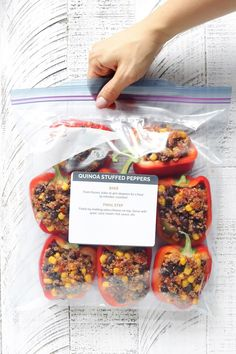 Freezer-Friendly Quinoa Stuffed Peppers are simple to make, requiring just 7 ingredients and 20 minutes hands on prep. Serve them vegan style OR add a little ground turkey. Chef's choice! via Sissom Healthy Lunches For Work, Healthy Snack Options, Make Ahead Lunches, Healthy Family Meals, Healthy Snacks, Work Lunches, Healthy Eating, Clean Recipes, Whole Food Recipes