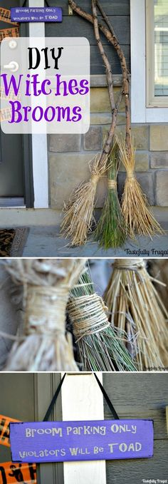 Check out the tutorial on how to make DIY witches brooms for Halloween home decoration @istandarddesign