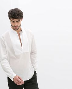 VOILE SHIRT WITH MAO COLLAR