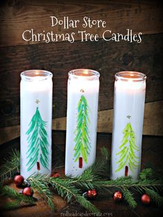 Make Dollar Store Christmas Tree Candles easily with a dollar store candle and a few permanent marker sharpies! Dollar Tree Candles, Christmas Tree Candles, Unique Christmas Trees, Dollar Tree Christmas, Dollar Tree Crafts, Christmas Crafts, Christmas Decorations, Christmas Ideas, Candle Decorations