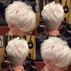 Natural White Hair Pixie Cut Gorgeous J Gorgeous - Hair Beauty Short Hair Over 60, Funky Short Hair, Short Hair Older Women, Short Hair With Layers, Haircuts For Fine Hair, Cute Hairstyles For Short Hair, Older Women Hairstyles, Hairstyles Haircuts, Curly Hair Styles