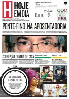 Capa do dia 08/07/2016 #HojeEmDia #Jornal #Notícias #News #Newspaper