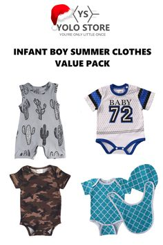 Infant Boy Summer Clothes Value Pack from YOLO Store. Perfect for those hot summer days. Save off the full price! Boys Summer Outfits, Summer Clothes, Baby Kids, Baby Boy, Camo Shorts, Adorable Babies, Cactus Print, Yolo, Baby Bodysuit