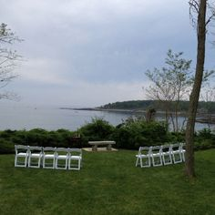 Setup for an intimate wedding by the sea...in the park across from the York Harbor Inn