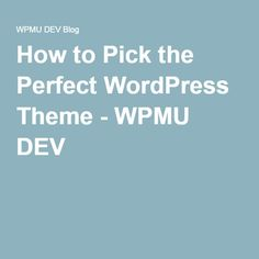 How to Pick the Perfect WordPress Theme - WPMU DEV