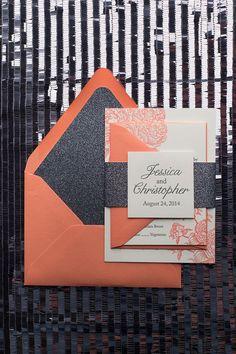 ELIZABETH Suite Glitter Package. Grey And CoralCoral Wedding InvitationsBlack  ...