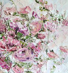 Original Oil Painting Palette Knife Impasto Style Dusky Pink Red Violet Roses Beige Flower Peony Rose English Garden Cottage.