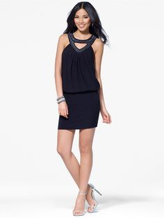 Black Blouson Dress with Crystal Details Bought this dress and i am wearing it to my dance!