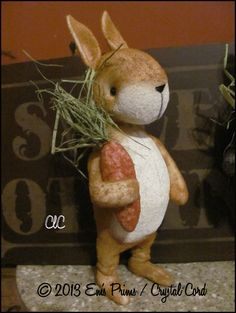 Primitive Bunny Rabbit woodland  Whimsy Country decor by emsprims, $29.00
