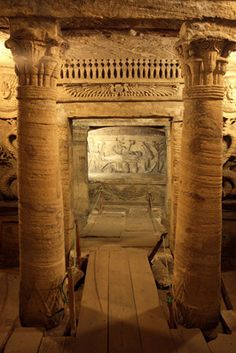 """Kom el-Shuqafa Catacombs, Alexandria, Egypt. Built in the late 1st century AD, the Kom el-Shuqafa (literally means """"Mound of Shards"""") is the largest known Roman burial site in Egypt."""