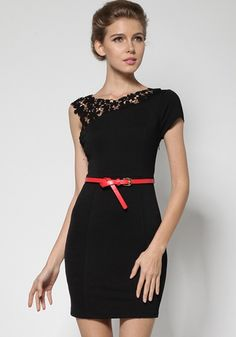 Black Patchwork Hollow-out Lace Shoulder Wrap Cotton Dress, Indeed an Amazing dress