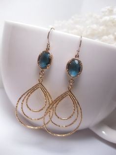 Hey, I found this really awesome Etsy listing at https://www.etsy.com/listing/164070735/teardrop-hoop-earrings-blue-montana-blue