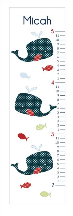 Whale Growth Chart children's art wall art by FieldandFlower, $35.00