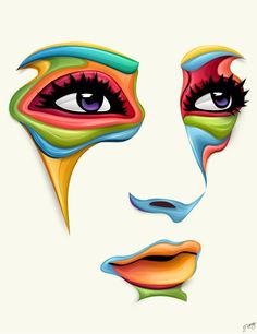Vector illustrations by a young designer Jeremy Young from New Zealand. Jeremy is a self-taught digital artist. He created the amazing face illustrations Abstract Face Art, Face Illustration, Portrait Illustration, Young Art, Vector Portrait, Arte Pop, Pencil Art, Vector Art, Vector Illustrations
