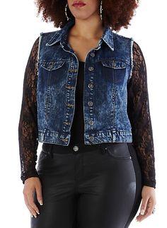 e702268e679fc Plus-Size Denim Vest with Lace Sleeves