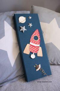 Fusée Rouge Etoiles Blanches sur Ciel Bleu Orage, son Ovni et Saturne by Too Mimi